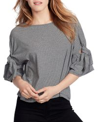 Ella Moss - Elbow-sleeve Striped Cotton Top - Lyst