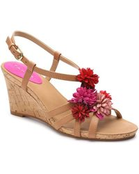 Tahari - Favour Floral Leather Wedge Sandals - Lyst