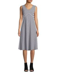 Jones New York - Stripe Twisted A-line Dress - Lyst