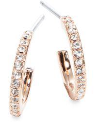 Nadri - Small Rose Goldtone Pave Hoop Earrings - Lyst