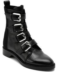Dolce Vita - Women's Gaven Buckled Leather Combat Booties - Lyst