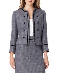Tahari - Metallic Fringe Tweed Jacket - Lyst