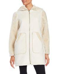 Gallery - Hooded Faux Sherling Walker Coat - Lyst