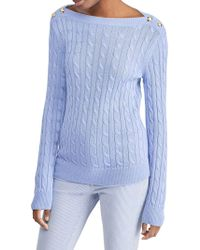 Lauren by Ralph Lauren - Button-shoulder Cable Jumper - Lyst
