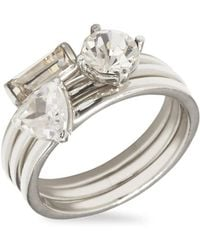 Vince Camuto - Silvertone & Crystal Stackable Ring - Lyst