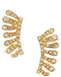 a38943fcec3 Oscar de la Renta Marigold Resin Flower & Swarovski Crystal Earrings ...