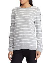 Lauren by Ralph Lauren Striped Buttoned-sleeve Sweater