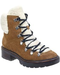 Marc Fisher - Capell Genuine Shearling Cuff Lace-up Boot - Lyst