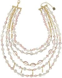 Laundry by Shelli Segal - Goldtone Beaded Layer Necklace - Lyst
