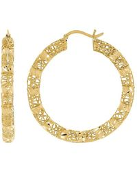 Lord & Taylor - 14k Yellow Gold Hollow Round Hoop Earrings - Lyst