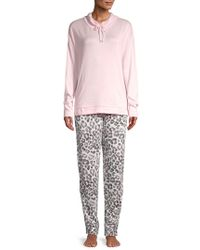 Hue - Two-piece Funnelneck Top & Tapered Pants Pajama Set - Lyst