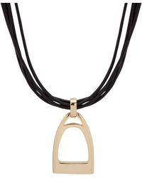 Lauren by Ralph Lauren - Goldtone & Leather Necklace - Lyst