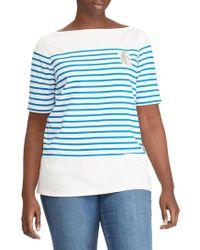 Lauren by Ralph Lauren - Plus Logo Striped Cotton Tee - Lyst
