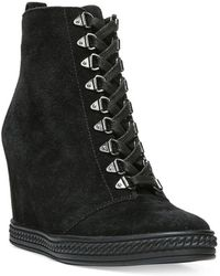 Fergie | Jillian Suede Wedge Lace Up Booties | Lyst