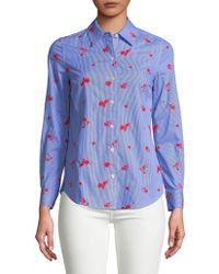 443ab31f3472bf Lord   Taylor - Petite Embroidered Floral Cotton Button-down Shirt - Lyst