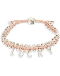 BCBGeneration - Lucky Boxed Pink Woven Adjustable Pulley Bracelet - Lyst