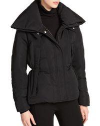 Donna Karan - Short Puffer Hooded Coat - Lyst