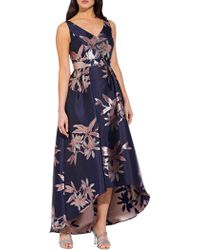 Adrianna Papell Floral Sleeveless High-low Gown