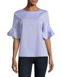 Calvin Klein - Ruffle Flare-sleeve Blouse - Lyst