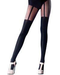 bc68b9360b678 Pretty Polly Henry Holland Fishnet True Suspender Tights in Black - Lyst