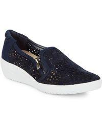 601ab422158 Jimmy Choo Demi Metallic Slip-on Sneakers in Blue - Lyst
