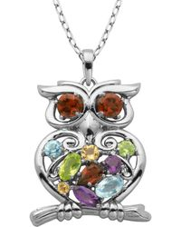 Lord & Taylor - Multi-stone Owl Pendant Necklace - Lyst