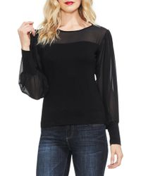 Vince Camuto - Chiffon Contrast Knit Top - Lyst