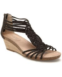 Me Too - Trista Braided Nubuck Leather Wedge Sandals - Lyst
