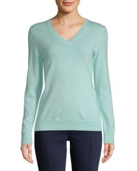 Lord & Taylor - Plus V-neck Merino Wool Sweater - Lyst