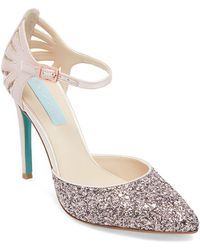 Betsey Johnson - Avery Shimmering Ankle Strap Pumps - Lyst
