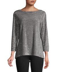 Jones New York - Metallic Striped Long-sleeve Tee - Lyst
