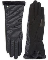 Lauren by Ralph Lauren - Quilted Faux Fur Gloves - Lyst
