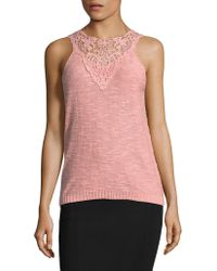 Vero Moda - Crochet-trimmed Knit Top - Lyst