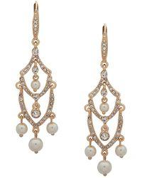 Anne Klein - Crystals & Faux Pearls Chandelier Earrings - Lyst