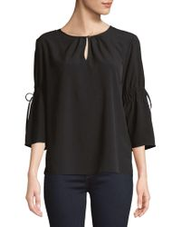 Ellen Tracy - Petite Ruched-sleeve Three-quarter Sleeve Top - Lyst