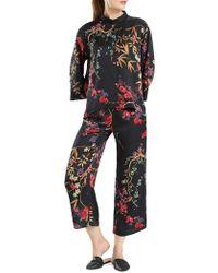 N Natori Floral-print Silky Satin Wrap Robe in Black - Lyst 87e0574c5