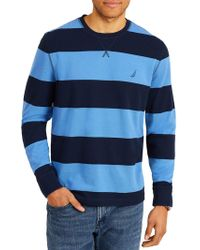 Nautica - Long Sleeve Rugby Stripe Crewneck Sweater - Lyst