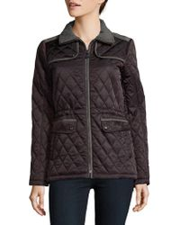 Vince Camuto - Cinch Waist Quilted Coat - Lyst