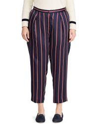 Lauren by Ralph Lauren - Plus Striped Mid-rise Twill Trousers - Lyst