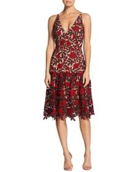 Dress the Population - Lily Plunge Lace Fit & Flare Dress - Lyst