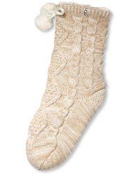UGG - Pom Pom Fleece Lined Crew Sock - Lyst