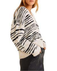 Mango - Striped V-neck Sweater - Lyst