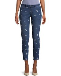 Lord & Taylor - Flower-embroidered Skinny Jeans - Lyst