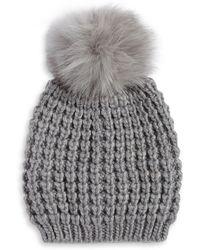 Lord & Taylor - Fox Fur Pom Pom Beanie - Lyst