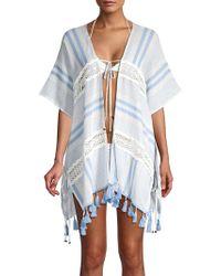 Surf Gypsy Tasselled Stripe Crochet Kimono Coverup