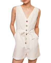 Mango - Bow Linen Jumpsuit - Lyst