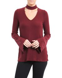 Three Dots - Bell-sleeve Choker Sweater - Lyst