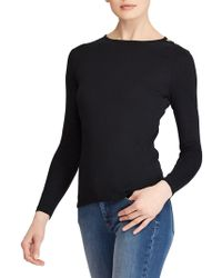 Lauren by Ralph Lauren - Button-shoulder Crewneck Top - Lyst