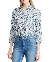 Lauren by Ralph Lauren - Petite Straight-fit Floral Cotton Button-down Shirt - Lyst
