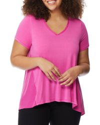 REBEL WILSON X ANGELS - Plus Knit To Woven V-neck Tee - Lyst